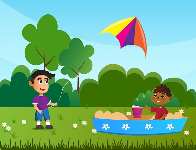 Child playing in sandbox, boy with flying kite. Premium Vector