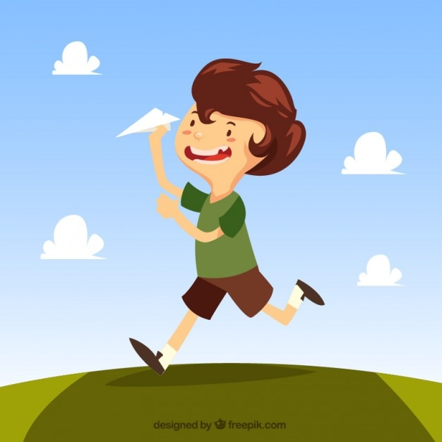 Child playing with a paper plane\ illustration