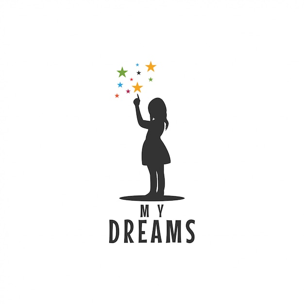 Child pointing stars icon graphic design Premium Vector
