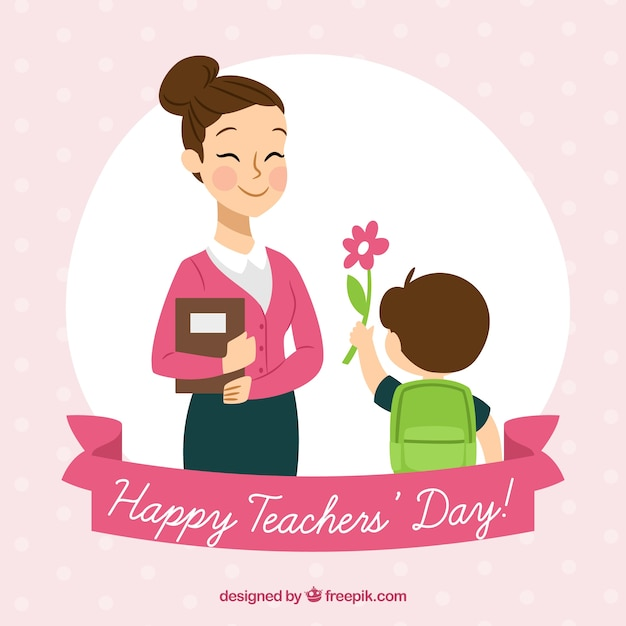 Child presenting a flower to his teacher Free Vector