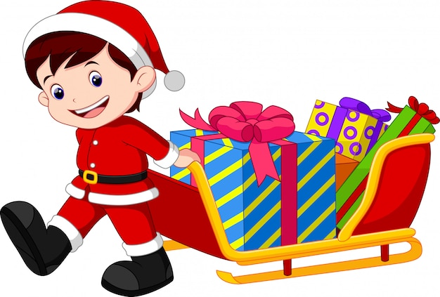 Child pulling a sleigh full of gifts Premium Vector