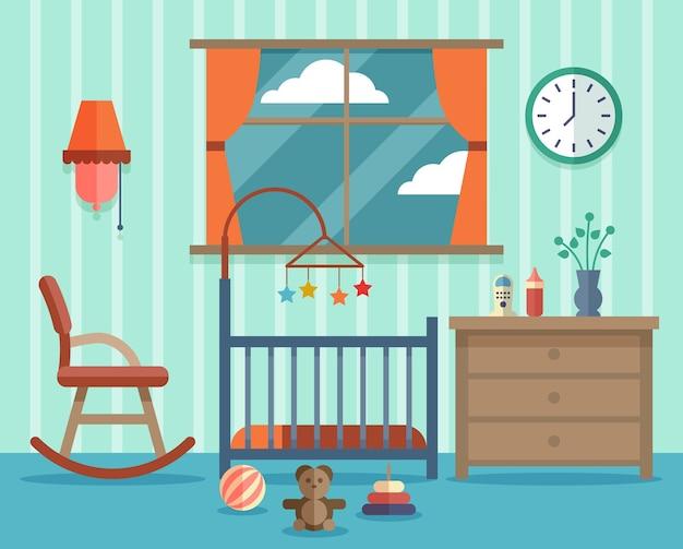 生まれたばかりの赤ちゃんのための子供部屋。ロッキングチェア、子供時代のデザイン。 無料ベクター