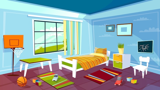 Child room of kid boy bedroom interior background. Free Vector