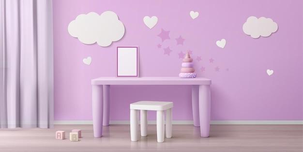 Camera per bambini con tavolo per bambini, sedia, poster bianco e nuvole sul muro Vettore gratuito