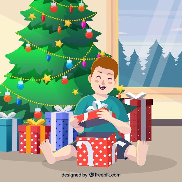 Apertura Regali Di Natale.Regali Di Natale Di Apertura Di Sfondo Per Bambini Vettore Gratis