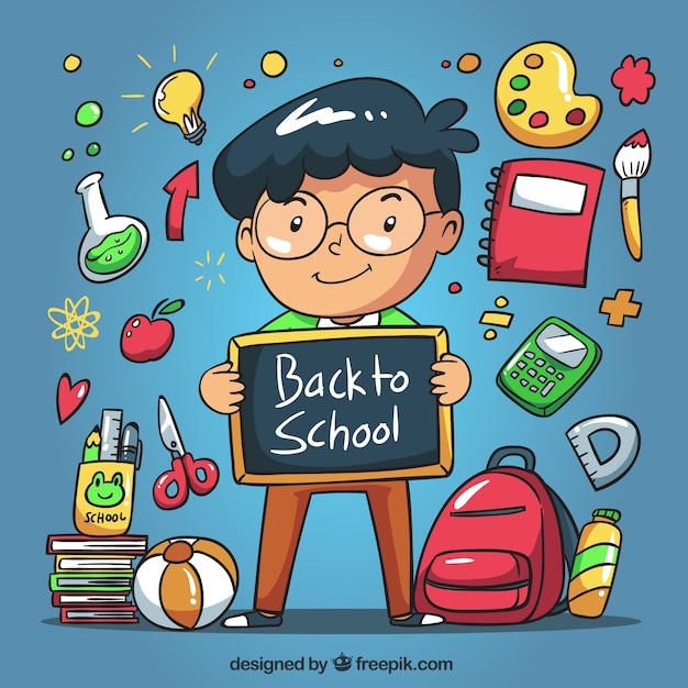 Child's background with a chalkboard and hand drawn school elements  Free Vector