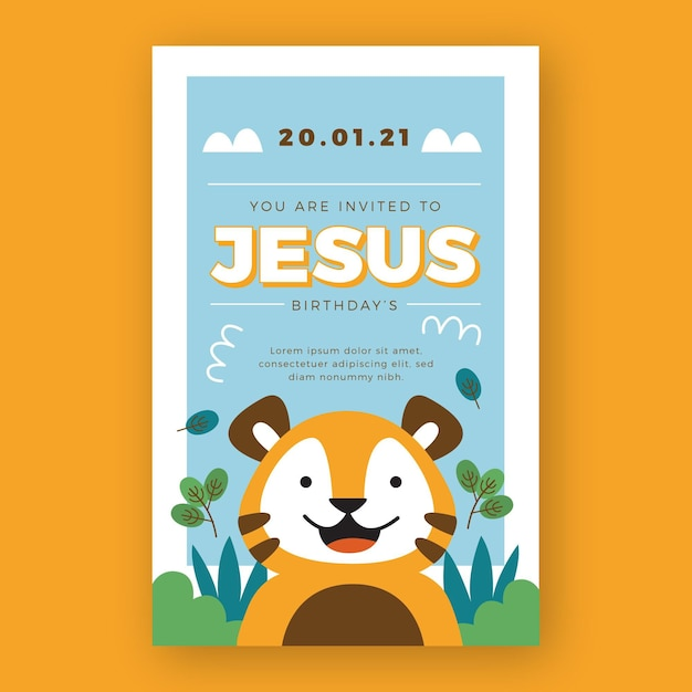 Child's birthday party invitation smiley tiger Free Vector