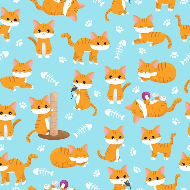 Child seamless nursery pattern. cute kawaii ginger cats with paws and fish bones. cartoon vector character. Premium Vector