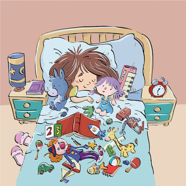 Child sleeping in bed surrounded by toys Premium Vector