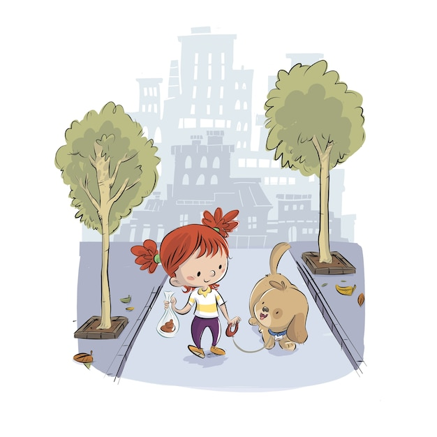 Child taking the dog for a walk in the park Premium Vector