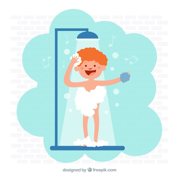 Child taking a shower Free Vector