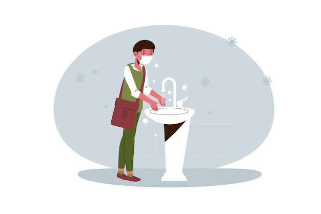 Child washing his hands at school Free Vector