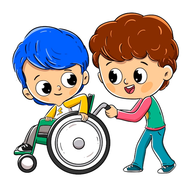 Child in a wheelchair with his friend or brother Premium Vector