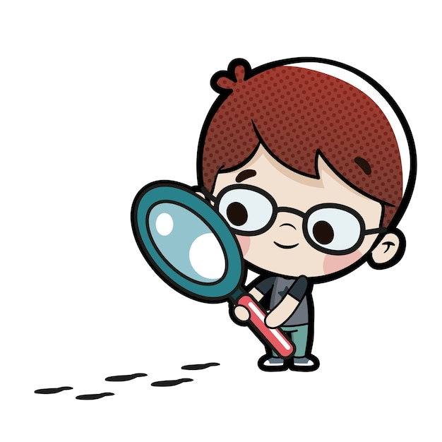 Child with a magnifying glass following some footprints Premium Vector