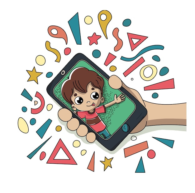 Child with a mobile Premium Vector