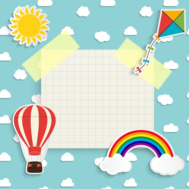 Ребенок с радугой, солнцем, облаком, воздушным змеем и воздушным шаром. место для текста. иллюстрация Premium векторы