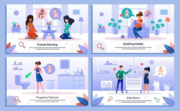 Childbirth waiting activities vector banners set Premium Vector