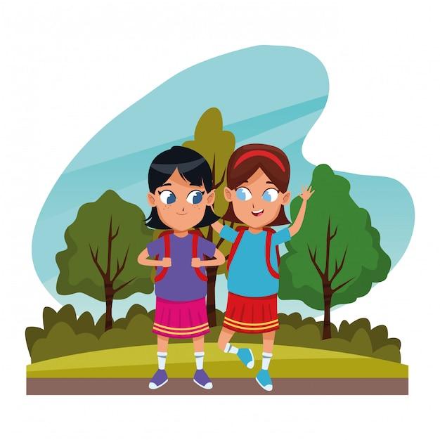 Childhood adorable students girls cartoon Premium Vector