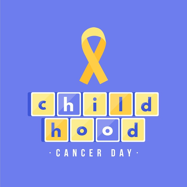 Childhood cancer day illustration with ribbon Free Vector