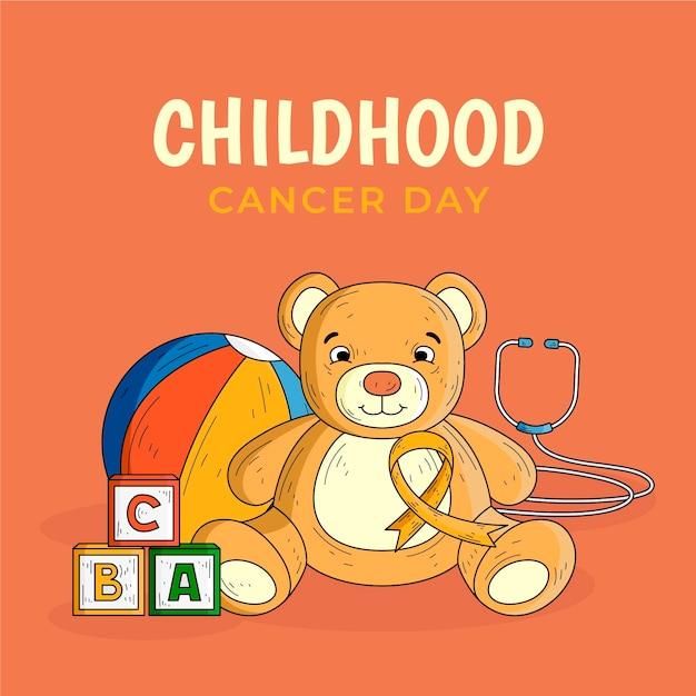 テディベアの手描きの小児がんの日 Premiumベクター