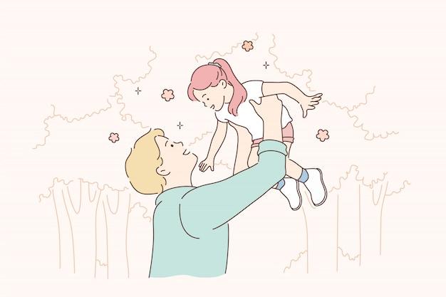 子供の頃、父親、サポート、ゲームのコンセプト。 Premiumベクター