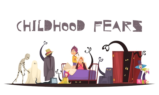 幽霊のモンスターとピエロのシンボルと子供時代の恐怖 無料ベクター