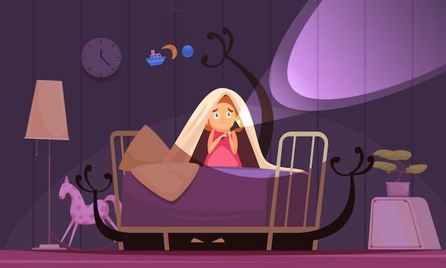 Paure dell'infanzia con simboli di incubi e brutti sogni Vettore gratuito