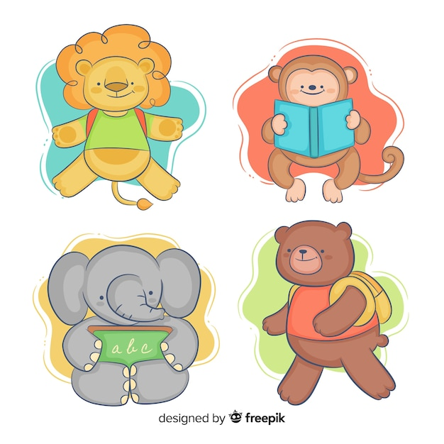 Childish back to school animals pack Free Vector