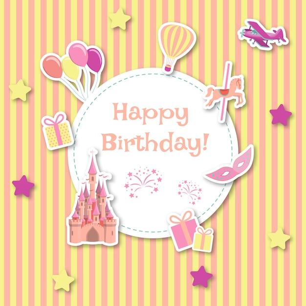 Childish birthday card Premium Vector