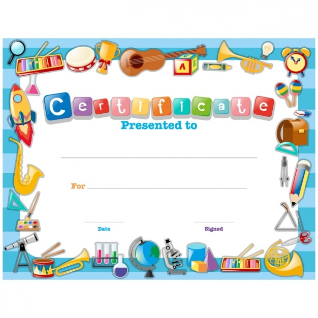 Childish certificate design Free Vector