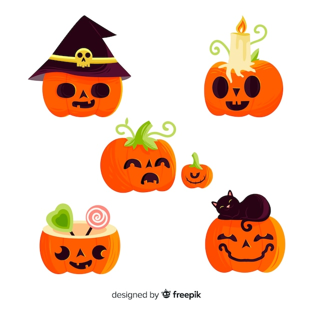 Childish hand drawn halloween pumpkin collection Free Vector