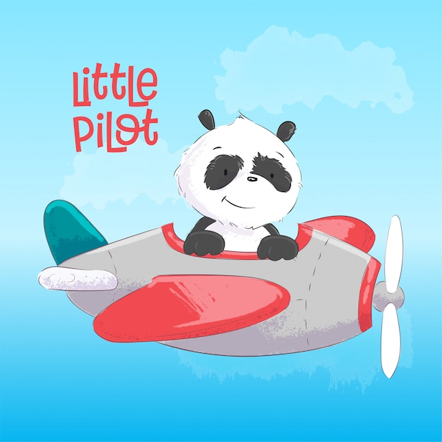 Childish Illustration Of Cute Panda On The Plane In Cartoon Style