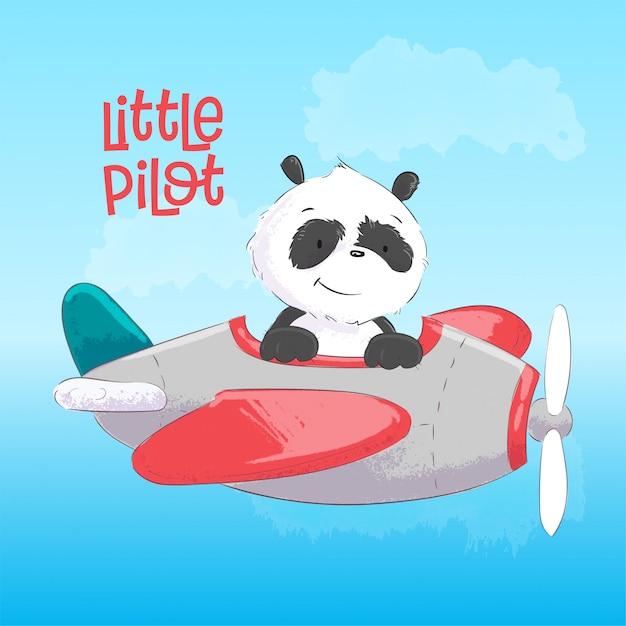 Childish Illustration Of Cute Panda On The Plane In Cartoon Style