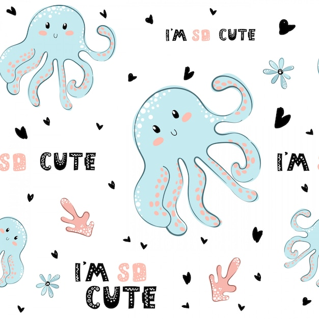 Childish octopus seamless pattern Premium Vector
