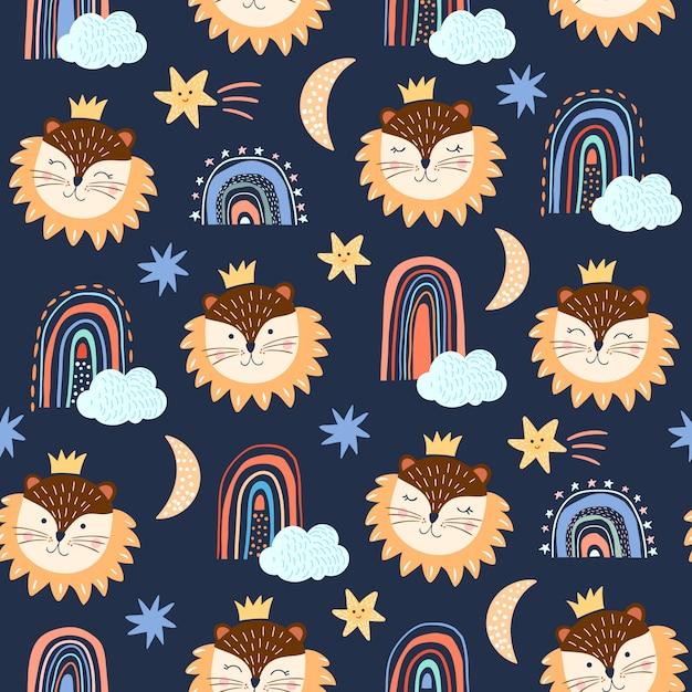 재미있는 사자와 무지개 유치 원활한 패턴 / 배경 프리미엄 벡터