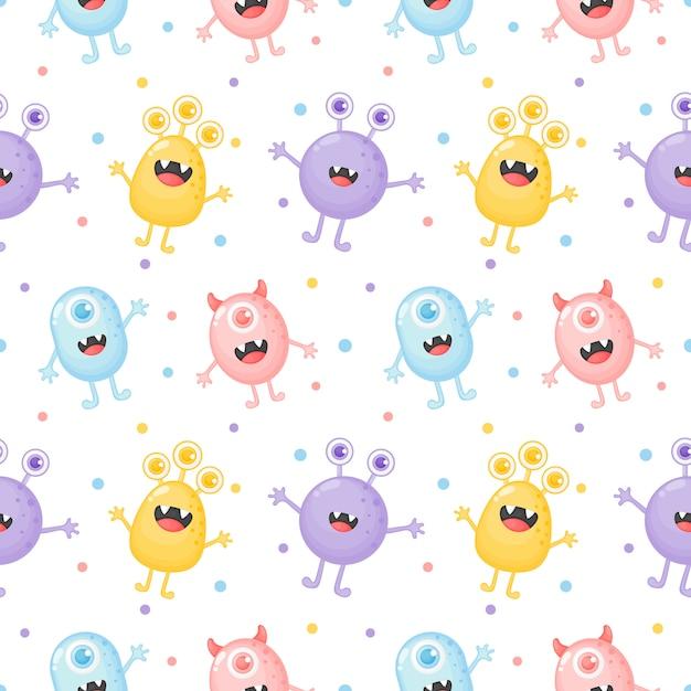 Childish seamless pattern cute funny monster cartoon Premium Vector