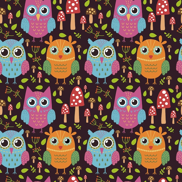 Childish seamless pattern with cute owls. Premium Vector