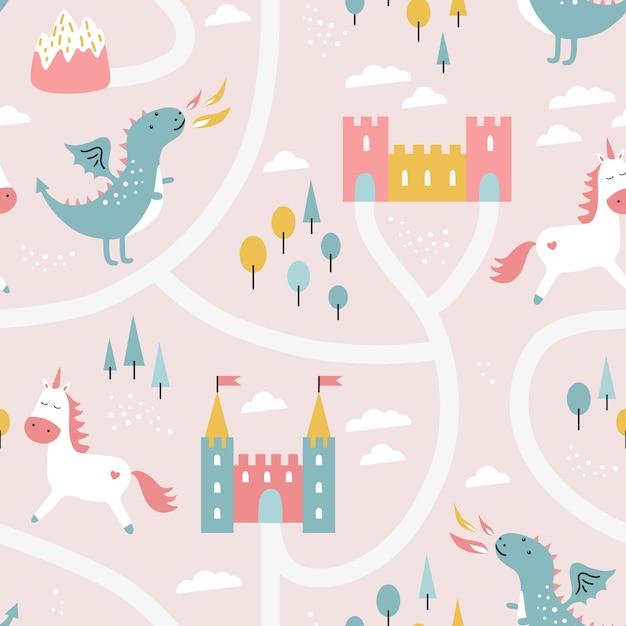 Childish seamless pattern with dragon, castle, unicorn Premium Vector