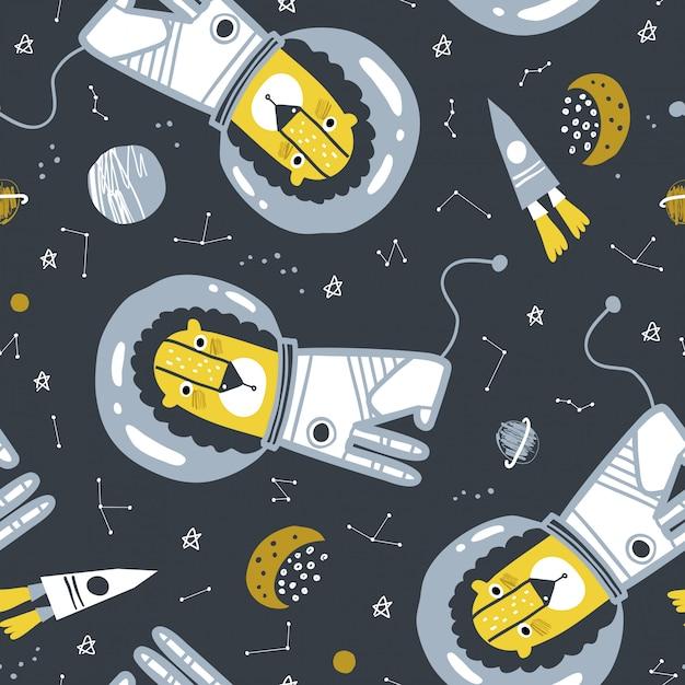 Childish seamless pattern with lion astronaut Premium Vector