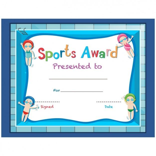 Childish Sport Certificate Design Vector Free Download