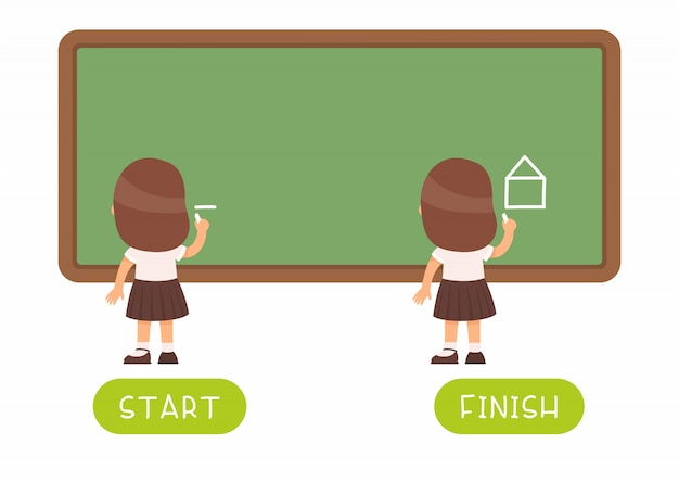 Childish word card with antonyms. flash card for english language with little kid. opposites concept, start and finish. schoolgirl drawing on chalkboard Free Vector