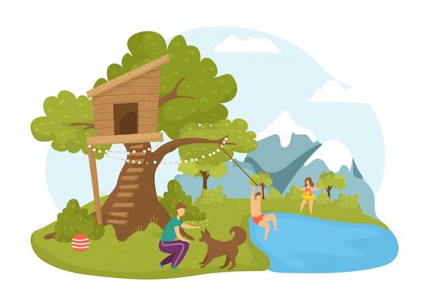 木の家で子供たちの活動、夏の自然のイラスト。公園の風景で漫画幸せな子供時代の男の子の女の子キャラクター。木の樹上の家の人々は、かわいい建物の近くで遊ぶ。 Premiumベクター