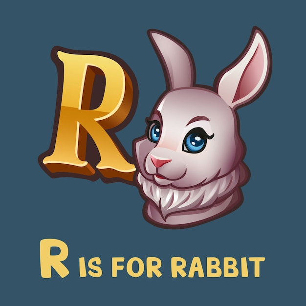 Children alphabet letter r and rabbit Premium Vector