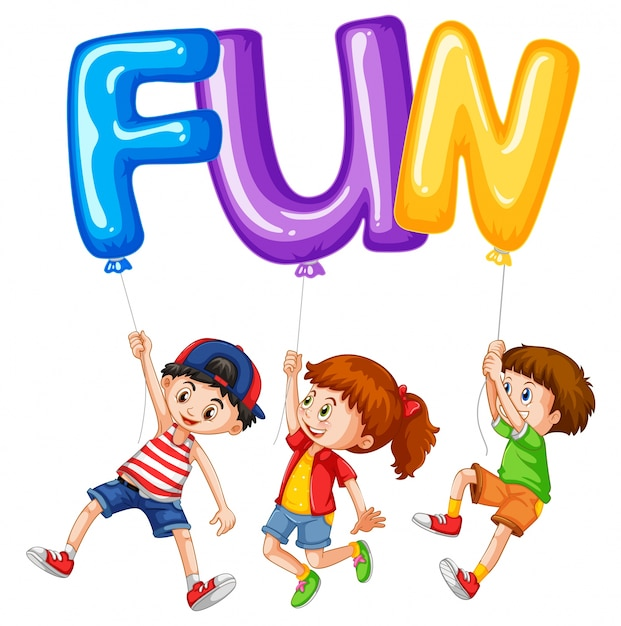 children and balloons for word fun vector premium download