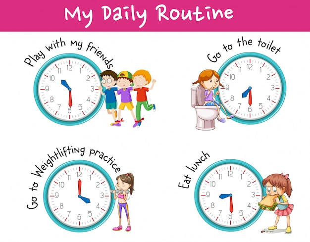 children and different activities for daily routine vector clip art of clocks at 7 clip art of clocks time change