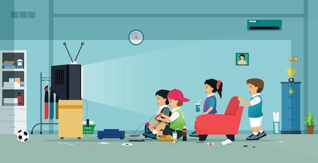 아이들과 친구들이 집에서 비디오 게임을합니다. 프리미엄 벡터