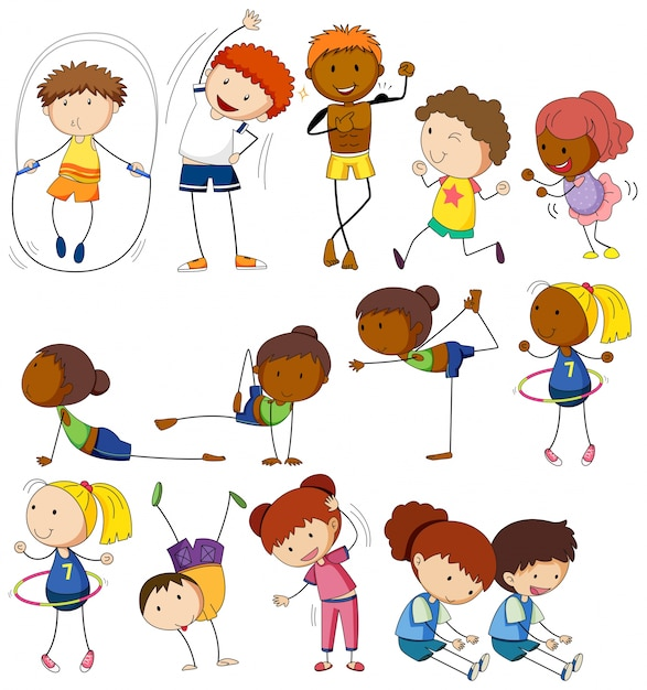 Children and people doing different exercises Free Vector