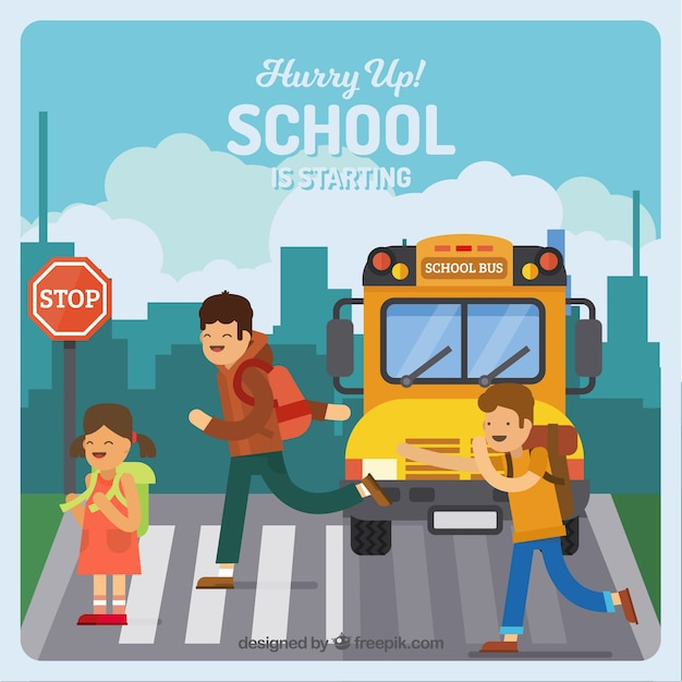 Children and school bus with flat design Free Vector