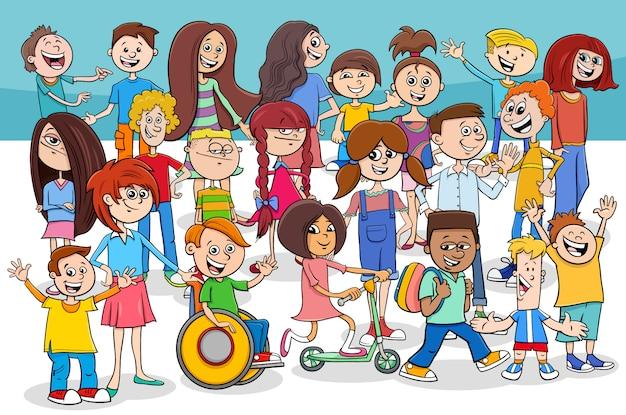 子供と10代の漫画のキャラクターグループ Premiumベクター