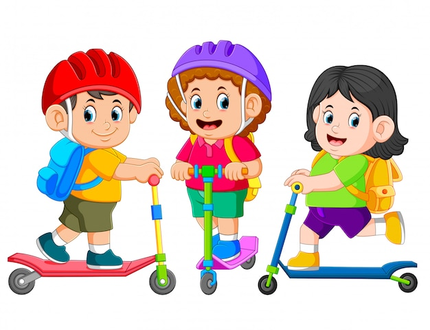 The children are going to school together with the kick scooter Premium Vector